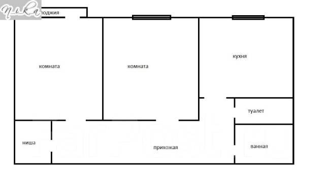 2-комнатная, Серова 3. Седанка, агентство, 51 кв.м. План квартиры