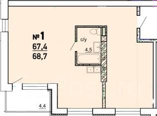3-комнатная, улица Светлогорская 8/1. агентство, 68 кв.м. План квартиры