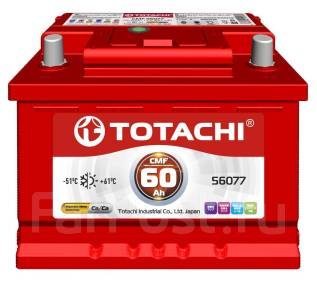 Totachi. 60А.ч., Обратная (левое), производство Корея. Под заказ
