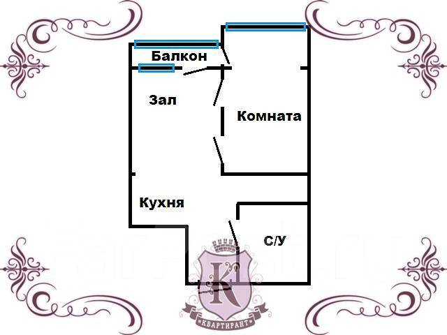 2-комнатная, улица Отлогая 10. Первая речка, агентство, 45 кв.м. План квартиры