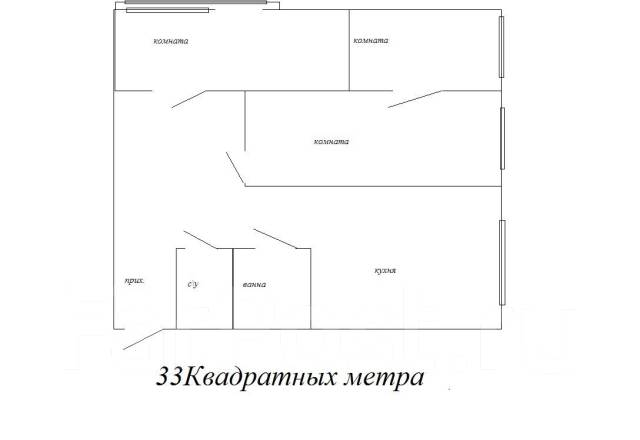 3-комнатная, улица Ивановская 15. Луговая, агентство, 48 кв.м. План квартиры