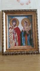 Икона Святые Петр и Феврония вышитая бисером. Для семейного счастья