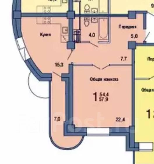 1-комнатная, проспект Красного Знамени 158а. Третья рабочая, проверенное агентство, 58 кв.м. План квартиры