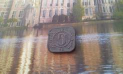 Нидерланды. Нечастые фронтовые цинковые 5 центов 1942 года. Необычная