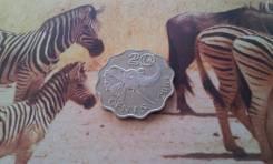 Свазиленд. 20 центов 2003 года. Ушастый слон. Необычная форма монетки!