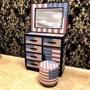 Эксклюзивный комод с зеркалом и пуфом в стиле ЛОФТ