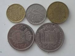 Испания подборка из 5 монет. Без повторов! Торги с 1 рубля!