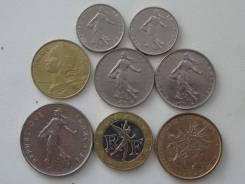 Франция подборка из 8 монет. Без повторов! Торги с 1 рубля!