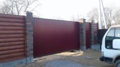 Заборы зимой, профнастил, сетка рабица, ворота, (откатные, распашные)