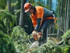 Производим прорубку просек и расчистку участков от лесной расти-ти.
