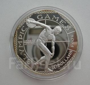 Кука 10 долларов 2001 Олимпиада Афины 2004 Дискобол Серебро. Редкая