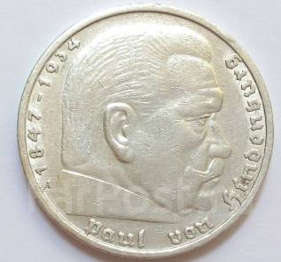 5 марок 1936, Германия, A, Гинденбург. Третий рейх . Серебро