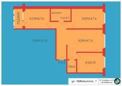 3-комнатная, улица Невельского 1. Луговая, агентство, 65 кв.м. План квартиры