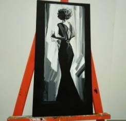 """Картина акрилом """"Черно-белая женщина"""". Под заказ"""