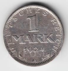 Германия - Веймар 1 марка 1924 А Серебро