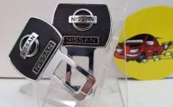 Вставка ремня безопасности (заглушка блокировка) NISSAN кожа иск хром 2шт арт MGB05