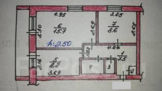 2-комнатная, с.Анисимовка. Шкотовский, частное лицо, 44 кв.м. План квартиры