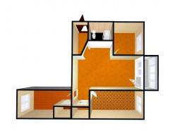 3-комнатная, переулок Крупской 1. Слобода, агентство, 54 кв.м. План квартиры