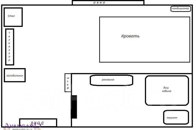 Комната, улица Посьетская 16. Центр, 18 кв.м. План квартиры