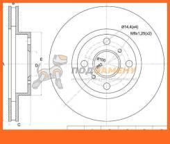 Диск тормозной передний TY Corolla/Spacio AE11#, Levin/MarinoTrueno GT AE101 SAT / ST4351212390