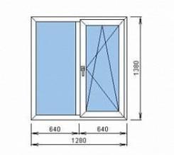 Пластиковое окно 1280*1380 мм 2 створки (1 глухая, 1 открывающаяся)