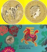 Австралия 1 доллар 2014 Год Лошади. Лошадь. Карточка. Редкая !