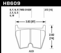 Колодки тормозные HB609Z.572 HAWK PC AUDI RS4, RS6, R8, Brembo G / JBT FB8P