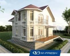 M-fresh Window (Дом с эркером, мягкая кровля, терраса). 100-200 кв. м., 2 этажа, 4 комнаты, бетон