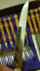 Набор столовый старинный. Деревянные ручки, дуб. Германия. Оригинал