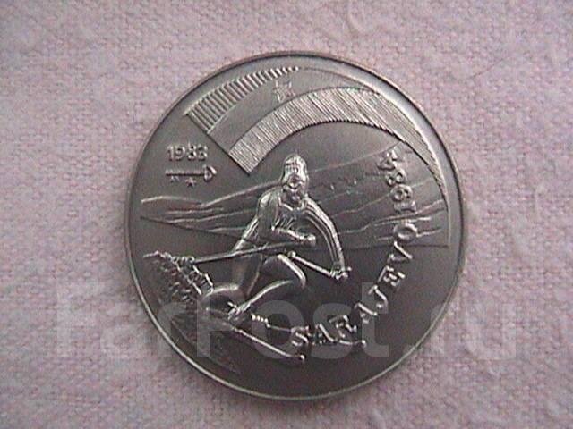 Куба 1 песо 1983г. Зимняя Олимпиада в Сараево 1984-слалом.