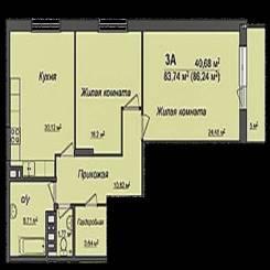 3-комнатная, улица Серафимовича 21. Ленинский, агентство, 86 кв.м.