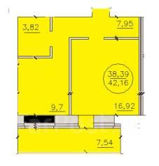 1-комнатная, улица Титова 253/5. Ленинский, агентство, 42 кв.м.