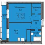 1-комнатная, улица Мясниковой 30. агентство, 42 кв.м.