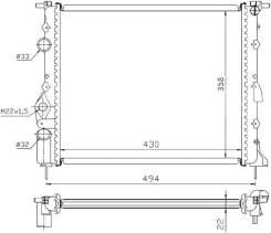 Радиатор двигателя RENAULT LOGAN 04-08/MEGANE 95-02/SCENIC 96-03 1.4/1.6/CLIO SYMBOL 1.0/1.2/1.4/1.5D/1.6/1.9D RN-LOG-1222