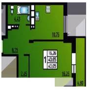 1-комнатная, улица Выборная 101/9. Октябрский, агентство, 43 кв.м.