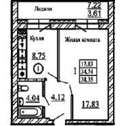 1-комнатная, Западная 254. Краснообск, агентство, 38 кв.м.