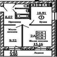2-комнатная, западная 254. Краснообск, агентство, 51 кв.м.