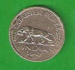 1/4 рупии 1947 г. Индия.