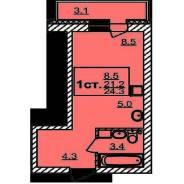 1-комнатная, улица микрорайон Радужный город 17/5. Верх-Тула, агентство, 24 кв.м.