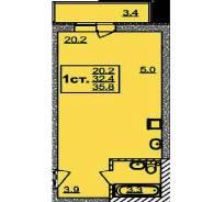 1-комнатная, радужный мкр 17/6. агентство, 35 кв.м.