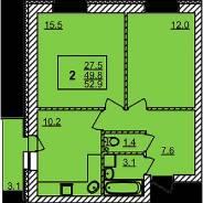 1-комнатная, улица микрорайон Радужный город 17/5. Верх-Тула, агентство, 52 кв.м.