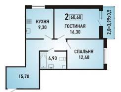 2-комнатная, улица Героя Яцкова 9 кор. 1. агентство, 60 кв.м.