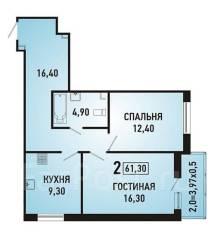 2-комнатная, улица Героя Яцкова 9 кор. 1. агентство, 62 кв.м.