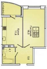 1-комнатная, улица Героя Яцкова 9 кор. 1. агентство, 39 кв.м.