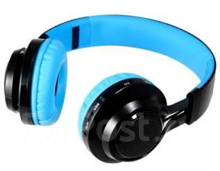 Беспроводные bluetooth наушники MP3 плеером и цветомузыкой (синие)!