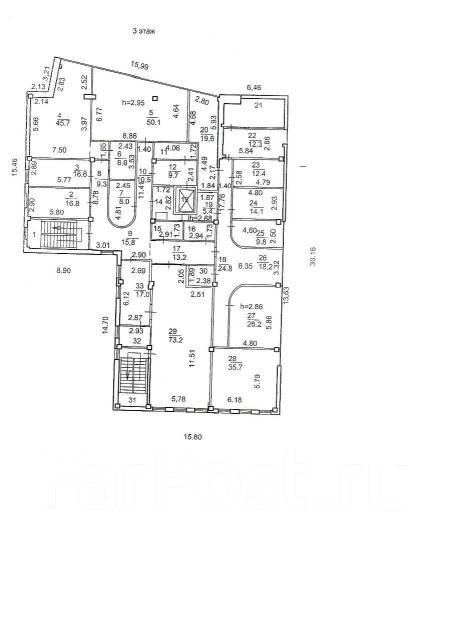 Сдается отличное офисное помещение на Второй речке. 431 кв.м., улица Русская 9б, р-н Вторая речка. План помещения