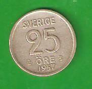25 эре 1957 г. Серебро, Швеция.