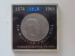 Великобритания 1 крона Черчилль в планшетке. UNC.