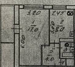 1-комнатная, улица Кирова 13. Вторая речка, частное лицо, 32 кв.м. План квартиры