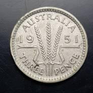3 пенса Австралия 1951 год серебро. Аукцион. Сл30